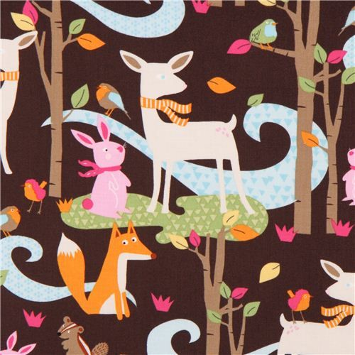 Timeless Treasues Fox and deer on brown. Soepele katoen met bosdieren: hertjes en vosjes