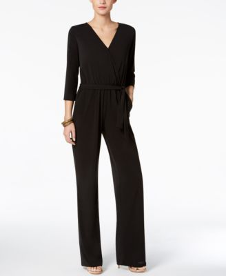 Ny Collection Petite Belted Jumpsuit - Purple P/L