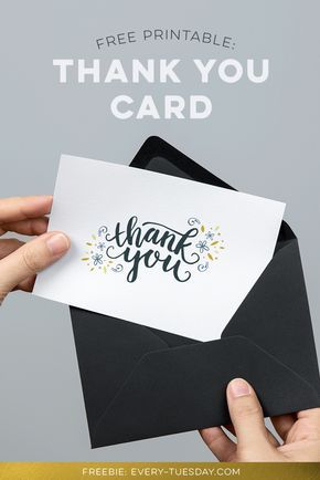 "freebie: hand lettered pdf thank you card printable! Comes in two (folded) sizes: 7""x5"" (for any A7 envelope) and 6""x4"" (for any A4 sized envelope)."
