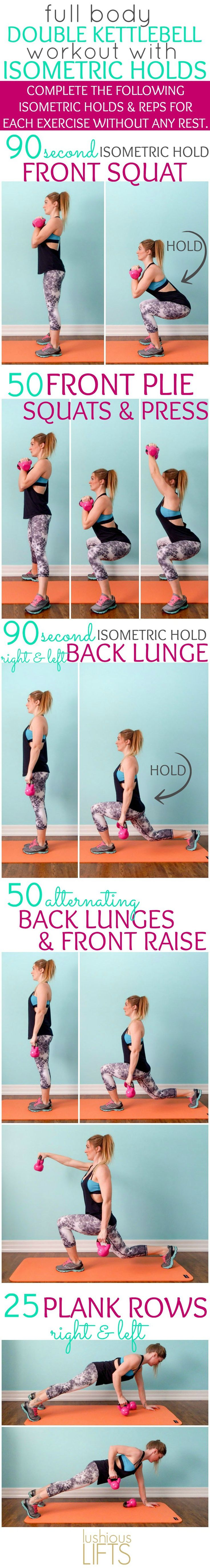 Full Body Double Kettlebell Workout with Isometric Holds; this workout really makes the lower body muscles burn!!!