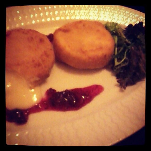 fried cheese with cranberry sauce