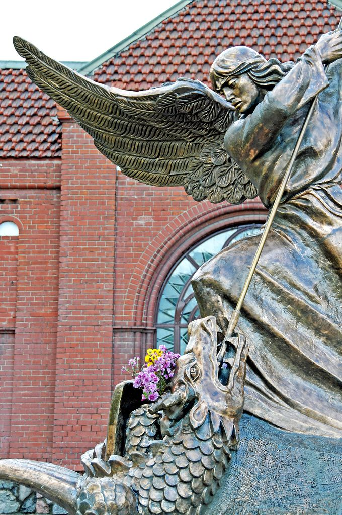 https://flic.kr/p/7o7pts | Belarus_3906 - St. George | PLEASE, no multi invitations in your comments. Thanks. I AM POSTING MANY DO NOT FEEL YOU HAVE TO COMMENT ON ALL - JUST ENJOY.   This is the statue of St. George killing the dragon in front of the Red Church ---- or the thought that went through my mind was -- Capitalism killing Communism.