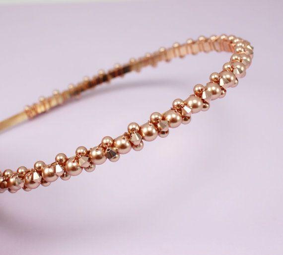 Rose gold headband Wedding hair band Pearl by Gardenofflowers