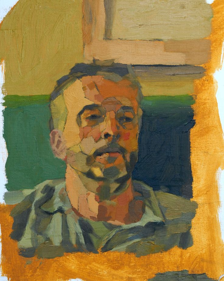 Stan's Dad. AS exam ~ oil painting ~ 2014. Exam theme 'Augment', Stan looked at the idea of augmenting three dimensions in painting, articulating facets to make three dimensional form more apparent.