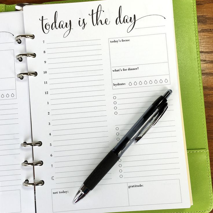 On Top of It printed A5 day on one page daily planner inserts