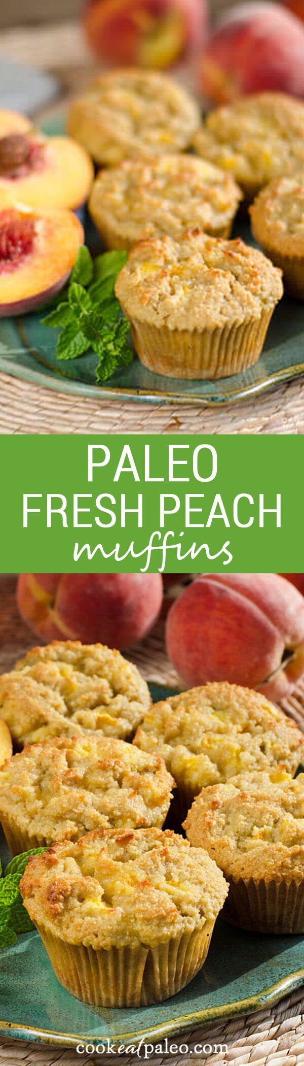 I love the chunks of peaches baked into this fresh peach paleo muffins recipe. The flavor of the peaches is wonderful with the almond, honey and lemon. {gluten-free, grain-free} ~ http://cookeatpaleo.com