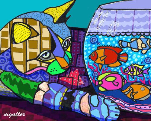Cat Art Print Poster Painting Michael Galler 11x14 Signed Gold Fish Bowl