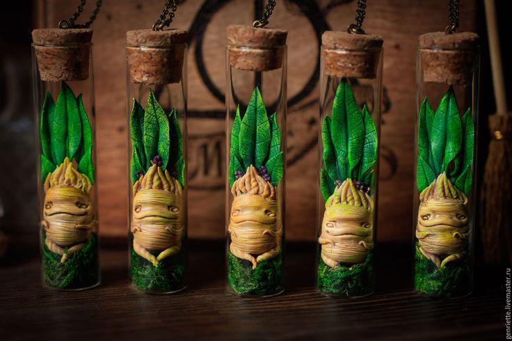 """Купить Подвеска """"Мандрагора"""" в баночке. - бежевый, телесный, корень, мандрагора, магия, волшебство, Гарри Поттер"""