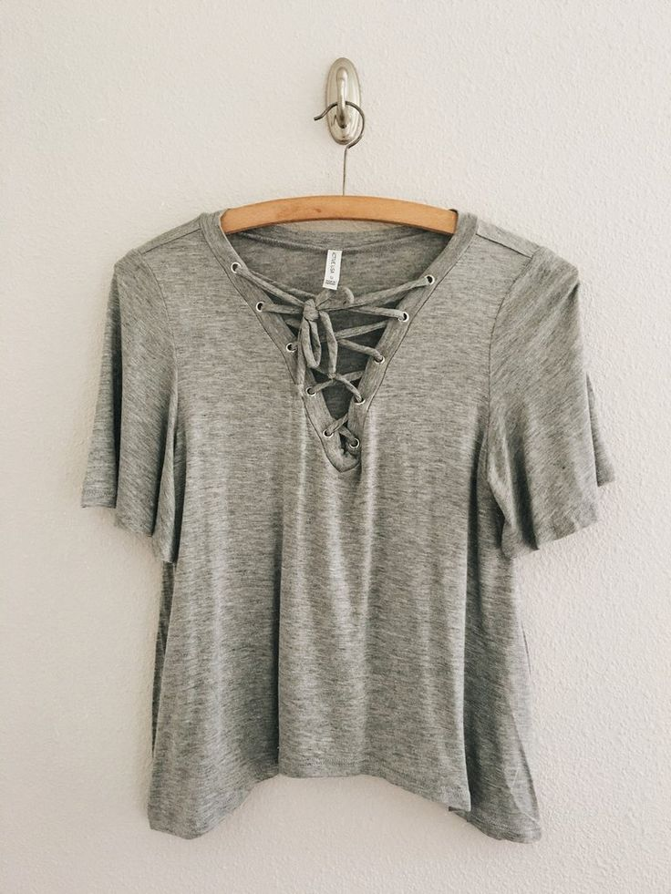 Brooklyn Lace Up Top (Heather Grey)