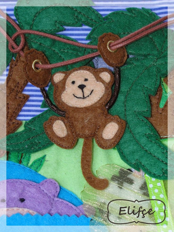 Love how the monkey slides and swings on his vine on the quiet book page by Leather Side изделия из кожи: quiet book