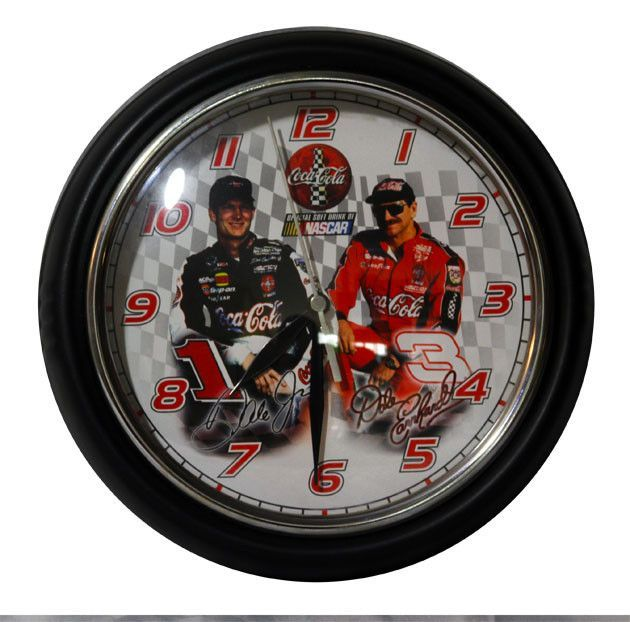NASCAR Collectible Dale Earnhardt Sr and Dale Earnhardt Jr Coca Cola Wall Clock