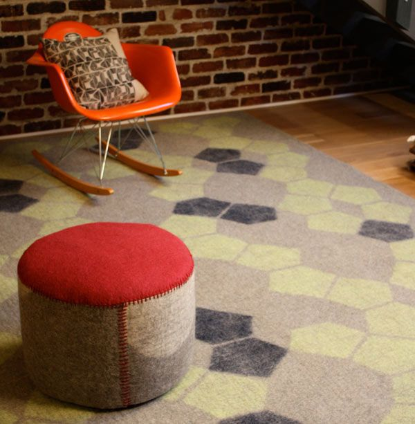 Peace Industry created a line of contemporary patterned handmade rugs made of 100% lambs wool and woven using traditional methods by Turkish artisans.