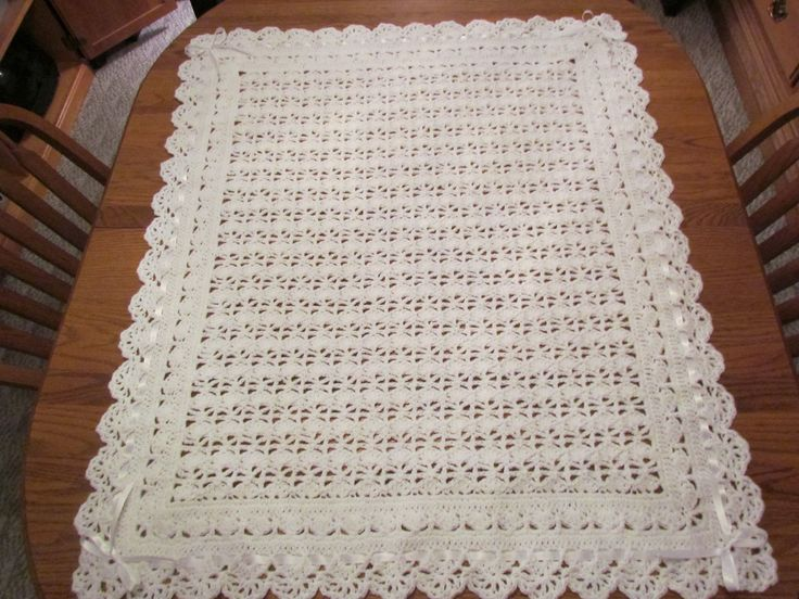 White Baby Blanket Crochet Christening Afghan Heirloom Lace with Ribbon Trim -  Direct Checkout - MADE TO ORDER. $45.00, via Etsy.