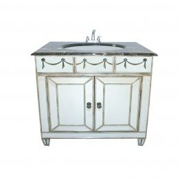 Mirrored bath sink with 2-door cabinet
