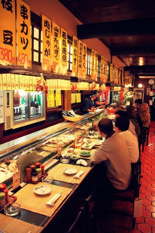 Sushi restaurant in Japan.