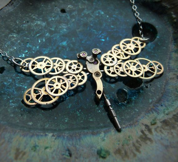 Steampunk Dragonfly Necklace Golden Dragonfly by amechanicalmind, $59.00