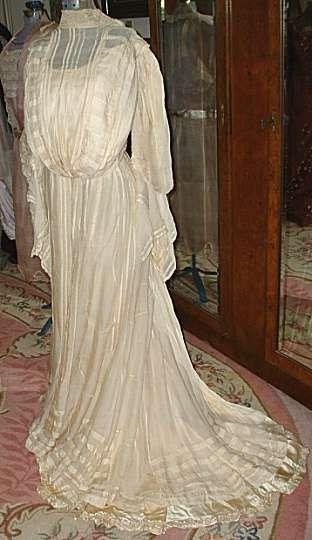 1904 cream silk wedding gown