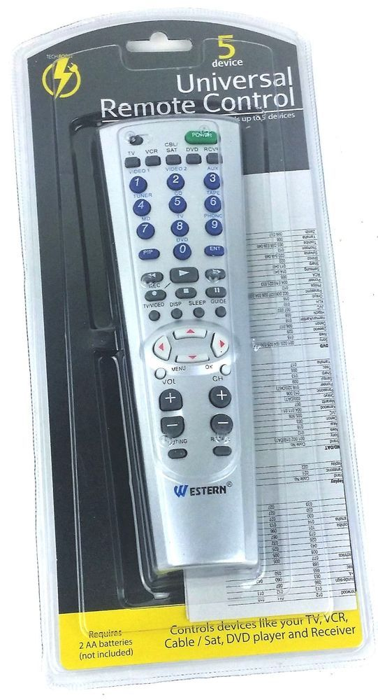 Universal Remote Control 5 Device - Silver TV,VCR,Cable/Sat, DVD Player/Receiver #UnbrandedGeneric