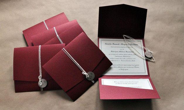 Zaproszenie ślubne - burgund