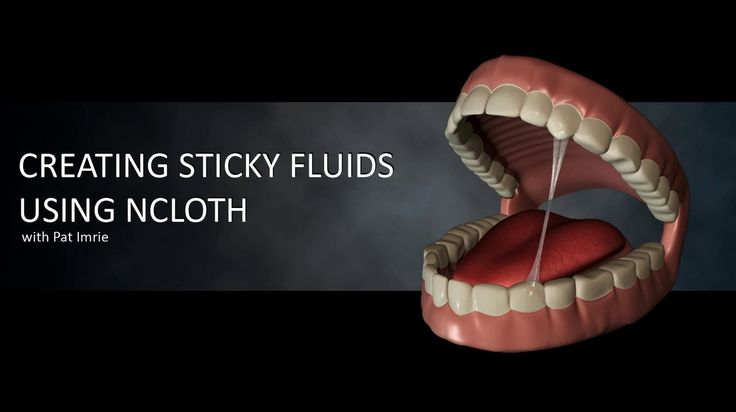 Creating Sticky Fluids Using NCloth - Using the example of saliva stretched between teeth, he shows how to anchor vertexes of an nCloth and adjust parameters of the nucleus for a thinning effect. -- 5:28