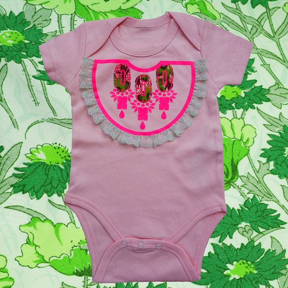 FRILLY 'bib' print BABYGROW New Baby girl outfit pink cotton baby grow hand by dAKOTArAEdUST, £18.00