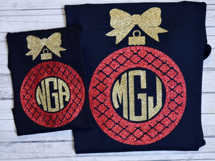 Christmas Ornament Mommy and Me Monogram GLITTER Womens Shirt/Christmas Monogram Ladies Ornament Mommy and Me Shirts by Creativelyyours2010 on Etsy https://www.etsy.com/listing/474754990/christmas-ornament-mommy-and-me-monogram