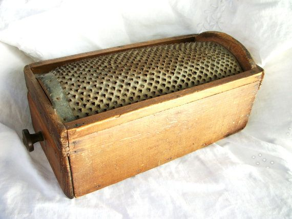 Antique Wood and Pierced Tin Grater  Food by AtomicTreasureHunter, $165.00