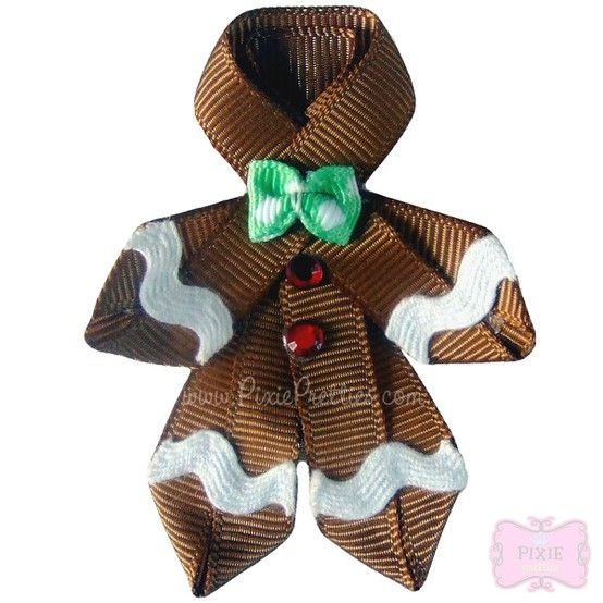gingerbread man out of ribbon. tie another little string to it to use as tree ornament or decoration on a wrapped gift.