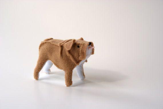 loyal bulldog   felt soft sculpture by Lane33andaHalf on Etsy