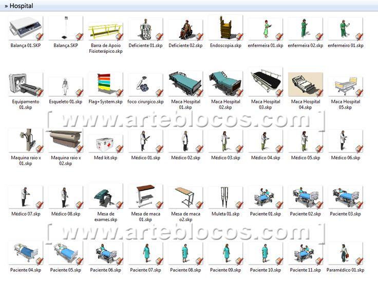 Amostra de Blocos Sketchup de clínicas, laboratórios, consultórios médicos e odontológico, dentista, cadeira, maca, hospital, raio-x, equipamentos hospitalares, estética, tudo em 3d.