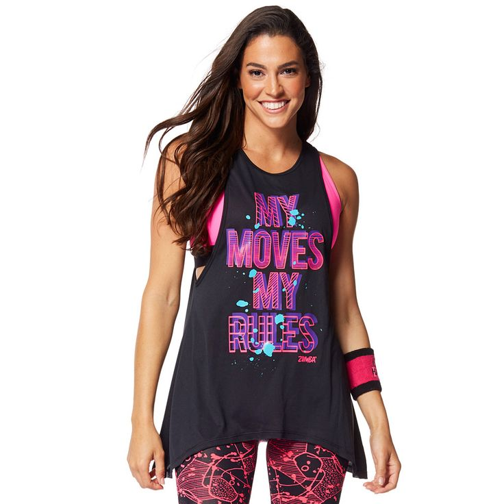 MY MOVES TANK - BACK TO BLACK ---------------------------------- You're makin' all the rules in the My Moves Tank! Featuring dropped armholes and a larger fit, this long-length tank keeps you looking (and feeling) like a boss all workout long.  Zumba Tank Top.