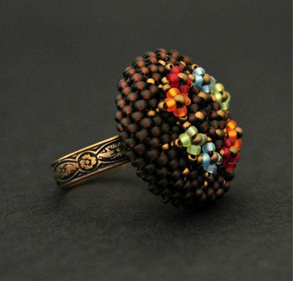 Flower copper ring. Beaded ring