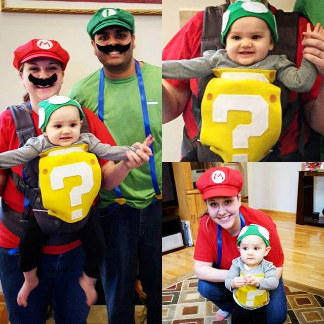 Pin for Later: 42 Adorable Halloween Costumes For Baby-Wearing Parents 1UP Box (Super Mario)