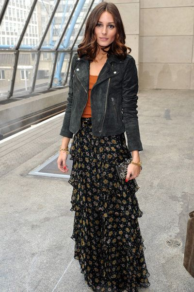 Maxi skirt and black leather jacket, as perfectly put together by Olivia Palermo.