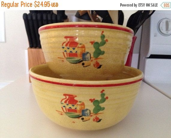 ON SALE Southwestern Oven Serve Mixing Bowls by thetrendykitchen on Etsy