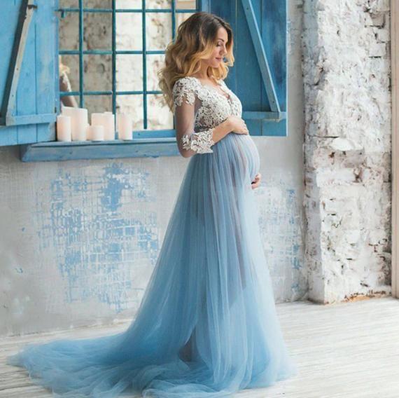 Gitty Baby Blue Maternity Dress Tulle Maternity Gown Lace Maternity Dress Sheer Gown Maternity Dress For Photo Shoot Photo Props Blue Maternity Dress Baby Blue Maternity Dress Lace Maternity Dress