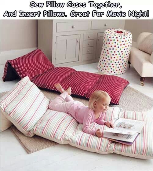 Floor pillow-mattress Easy and super idea! Sew pillowcases together then add pillows. Awesome!
