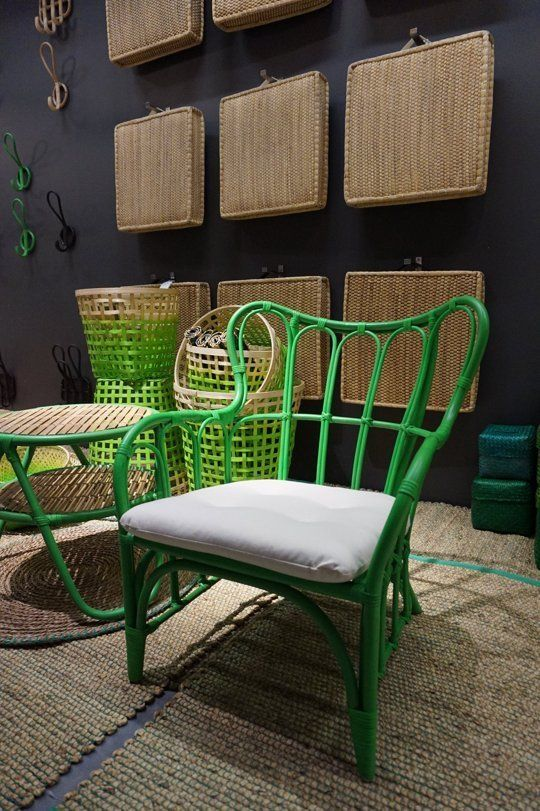 A Sneak Peek at IKEA's Naturale Fibre line New 2015 love this colorful rattan chair W/ matching side table, & the natural rush flor cushions!