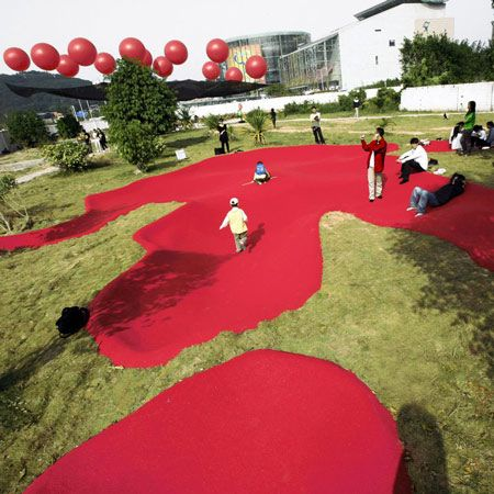Beijing architects MAD have created an installation of two large monster's footprints as part of the Shenzhen & Hong Kong bi-city Biennale of Urbanism/Architecture in China. Called Monster's Footprint in the Citizen Square, the project consists of 120 square metres of pink rubber sunken into the ground. See our previous stories about MAD: Urban Forest ….