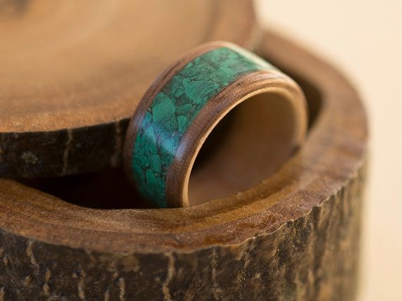 Walnut and beech wood ring with malachite inlay by MoonLoops