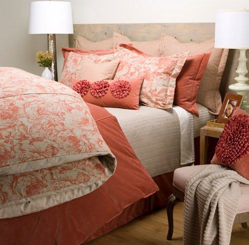 Love The Coral And Beige Bedroom Ideas Pinterest