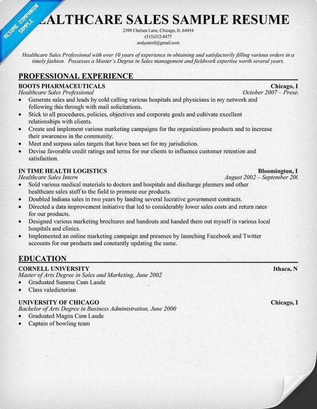 Healthcare Sales Resume + Resume Samples (   resumecompanion - sample healthcare executive resume