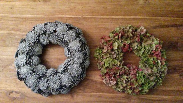 Grey Pinecone wreath and a Hydrangea wreath