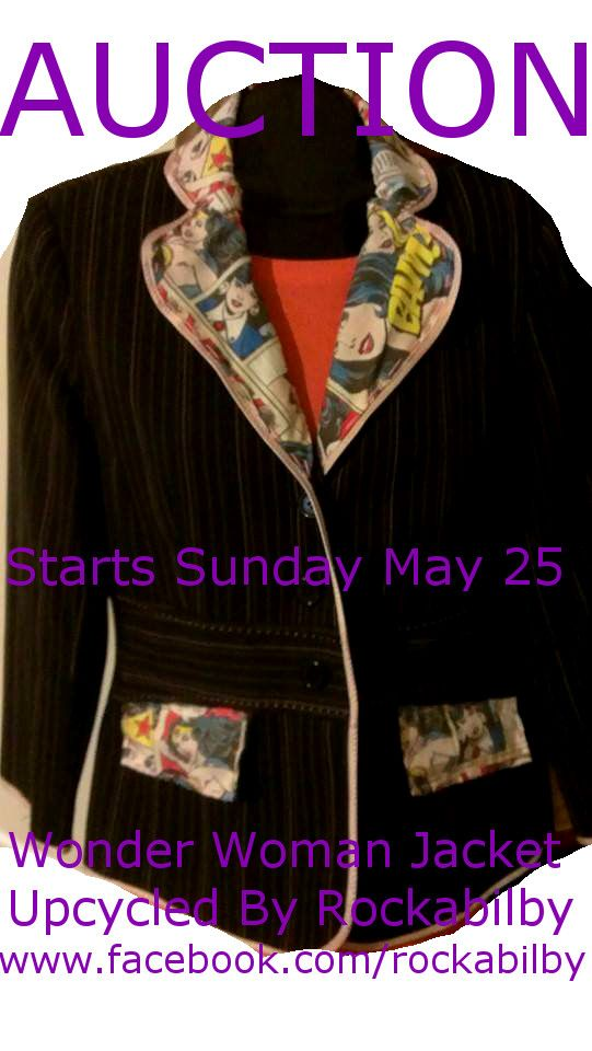 This Absolutely Gorgeously Unique Rockabilby Wonder Woman Upcycled Size 10 Jacket with Pink Pinstripes Will Be Auctioned During Rockabilby's GEEK Pride Showcase this Sunday May 25 until Tuesday 27th!! Starting Price Only $30!! Don't Miss Out on This Beautiful Fem Glam Pop Art Jacket and Lots of Other Awesome Items at www.facebook.com/rockabilby