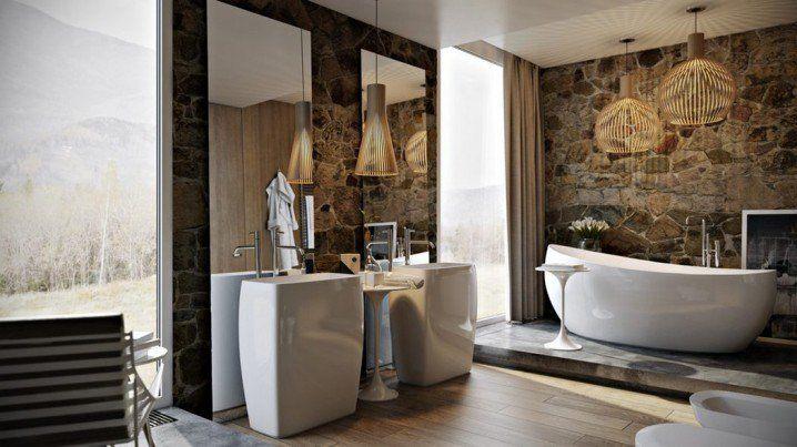 Μπάνια από πέτρα -Για ρουστίκ στιλ [εικόνες]