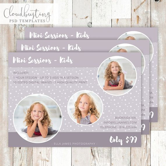 Photography Mini Session Card - Customizable Photoshop Template - https://www.etsy.com/listing/271859090