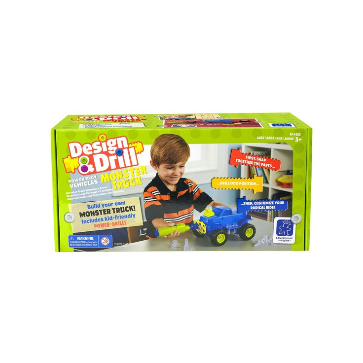 Educational Insights Design & Drill Power Play Vehicles Monster Truck, Multicolor