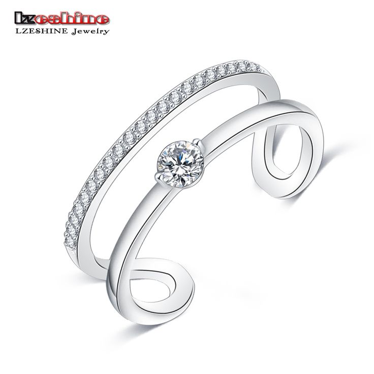 LZESHINE New Opening Rings Silver Plated Created Diamond Women Fashion Punk Cocktail Party Jewelry Rings CRI0316-B