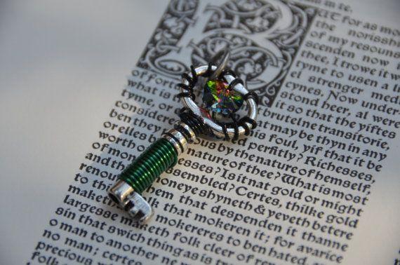 Green Swarovski Crystal Key by GeekAtHeartShop on Etsy, $15.00