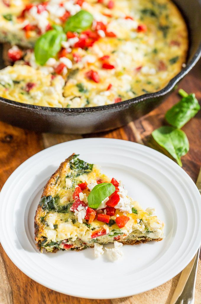 Roasted Red Pepper Frittata with Feta and Spinach | Get Inspired ...